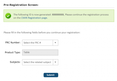 Pre-Registration Screen - ID Generated